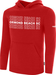 ORMOND BEACH BASICS FLEECE HOODIE MULTI ORMOND BEACH SC TEXT ON CENTER FRONT -- RED WHITE