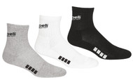 RUSH CONNECTICUT CENTRAL CAPELLI SPORT  3 PACK QUARTER CREW SOCKS --BLACK LIGHT HEATHER GREY WHITE