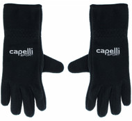RUSH CONNECTICUT CENTRAL CAPELLI SPORT FLEECE GLOVE EMBROIDERED LOGO & TOUCH FINGER -- BLACK WHITE