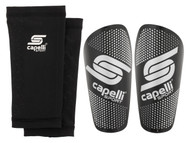 STARS PREMIER DEVELOPMENT SHIN GUARD W/SLEEVE  -- BLACK SILVER METALLIC