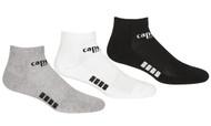 RUSH WISCONSIN CAPELLI SPORT 3 PACK LOW CUT SOCKS -- BLACK LIGHT HEATHER GREY WHITE