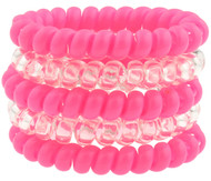 RUSH WISCONSIN CAPELLI SPORT 5 PACK PLASTIC PHONE CORD PONIES --  PINK COMBO