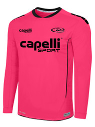 RUSH WISCONSIN SPARROW MATCH LONG SLEEVE GOALIE JERSEY  --  NEON PINK BLACK