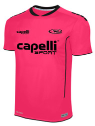 RUSH WISCONSIN SPARROW MATCH SHORT SLEEVE GOALIE JERSEY  --  NEON PINK BLACK