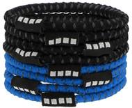 RUSH CONNECTICUT SHORELINE CAPELLI SPORT 8 PACK NO SLIP ELASTIC PONY HOLDERS  --  BRIGHT BLUE
