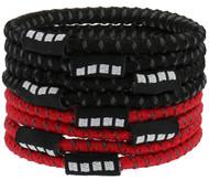 RUSH CONNECTICUT SHORELINE CAPELLI SPORT 8 PACK NO SLIP ELASTIC PONY HOLDERS  --  RED COMBO