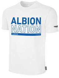 ALBION BASICS TEE SHIRT W/ BLUE  ALBION NATION BLOCK LOGO CENTER FRONT CHEST WHITE
