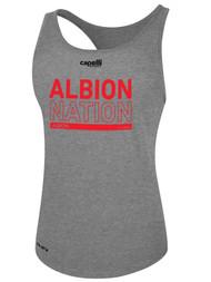 ALBION WOMEN'S RACER BACK TANK RED ALBION NATION LOGO CENTER FRONT CHEST LIGHT HTH GREY BLACK