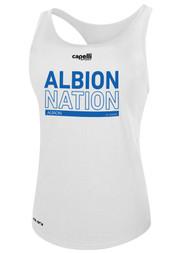 ALBION WOMEN'S RACER BACK TANK BLUE ALBION  NATION LOGO CENTER FRONT CHEST WHITE