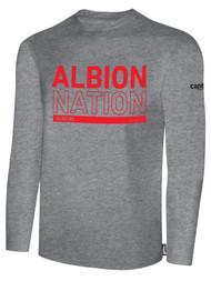 ALBION BASICS LONG SLEEVE TEE SHIRT RED ALBION NATION LOGO CENTER FRONT CHEST LIGHT HTH GREY BLACK