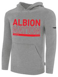 ALBION BASICS FLEECE PULLOVER HOODIE RED ALBION NATION LOGO CENTER FRONT CHEST LIGHT HTH GREY BLACK
