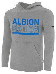 ALBION BASICS FLEECE PULLOVER HOODIE BLUE ALBION NATION LOGO CENTER FRONT CHEST LIGHT HTH GREY BLACK