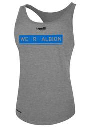 ALBION WOMEN'S RACER BACK TANK W/ BLUE WE R ALBION BOX LOGO CENTER FRONT CHEST LIGHT HTH GREY BLACK