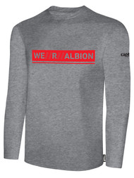 ALBION BASICS LONG SLEEVE TEE SHIRT W/ RED WE R ALBION  BOX LOGO CENTER FRONT CHEST LIGHT HTH GREY