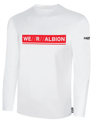 ALBION BASICS LONG SLEEVE  TEE SHIRT  W/ RED WE R ALBION BOX LOGO CENTER FRONT CHEST WHITE