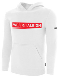 ALBION BASICS  FLEECE PULLOVER HOODIE W/ RED WE R ALBION BOX LOGO CENTER FRONT CHEST WHITE
