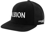 ALBION CS II TEAM FLAT BRIM CAP CENTER FRONT WHITE ALBION  TEXT LOGO BLACK WHITE