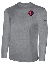 CLERMONT FC BASIC LONG SLEEVE COTTON T-SHIRT CREST ON WEARERS LEFT CHEST LIGHT HEATHER GREY BLACK