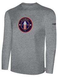 CLERMONT FC BASIC LONG SLEEVE COTTON T-SHIRT CREST ON WEARERS CENTER CHEST LIGHT HEATHER GREY BLACK