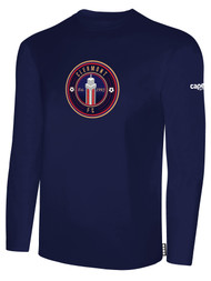 CLERMONT FC BASIC LONG SLEEVE COTTON T-SHIRT CREST ON WEARERS CENTER CHEST NAVY WHITE