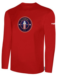 CLERMONT FC BASIC LONG SLEEVE COTTON T-SHIRT CREST ON WEARERS CENTER CHEST RED WHITE