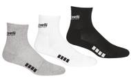RUSH IDAHO CAPELLI SPORT  3 PACK QUARTER CREW SOCKS --BLACK LIGHT HEATHER GREY WHITE