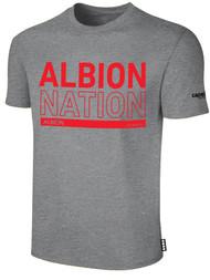 ALBION BASICS TEE SHIRT W/ RED ALBION NATION  BLOCK LOGO CENTER FRONT CHEST LIGHT HTH GREY BLACK