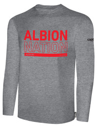 ALBION PORTLAND  BASICS LONG SLEEVE TEE SHIRT RED ALBION NATION LOGO CENTER FRONT CHEST LIGHT HTH GREY