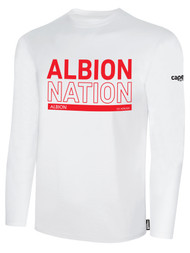 ALBION PORTLAND  BASICS LONG SLEEVE TEE SHIRT RED ALBION NATION LOGO CENTER FRONT CHEST WHITE