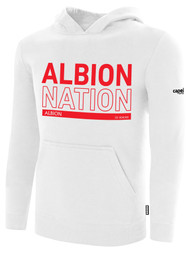 ALBION PORTLAND  BASICS FLEECE PULLOVER HOODIE RED ALBION NATION LOGO CENTER FRONT CHEST WHITE