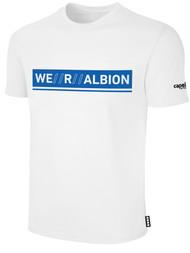 ALBION PORTLAND  BASICS TEE SHIRT W/ BLUE WE R ALBION BOX LOGO CENTER FRONT CHEST WHITE