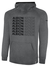 ALBION PORTLAND  LIFESTYLE THERMA FLEECE HOODIE CENTER FRONT CHEST ALBION NATION GRID LOGO DARK HTH GREY BLACK