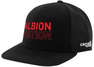 ALBION PORTLAND CS II TEAM FLAT  BRIM CAP CENTER FRONT RED ALBION NATION TEXT LOGO BLACK WHITE
