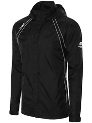 ADULT  RAVEN RAIN SLICKER WITH ROLL UP HOOD -- BLACK WHITE