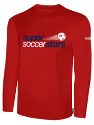 SUPER SOCCER STARS  LONG SLEEVE  T-SHIRT (YOUTH $18) - (ADULT  $20 ) -- RED