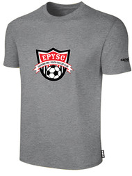 EASTERN PIKE SHORT SLEEVE COTTON T-SHIRT EASTERN PIKE CREST ON WEARERS CENTER CHEST LIGHT HEATHER GREY BLACK
