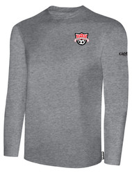 EASTERN PIKE LONG SLEEVE COTTON T-SHIRT EASTERN PIKE CREST ON WEARERS LEFT CHEST LIGHT HEATHER GREY BLACK