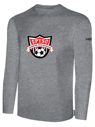 EASTERN PIKE LONG SLEEVE COTTON T-SHIRT EASTERN PIKE CREST ON WEARERS CENTER CHEST LIGHT HEATHER GREY BLACK