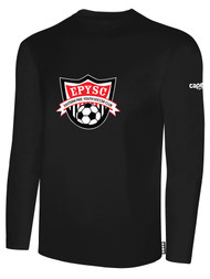 EASTERN PIKE LONG SLEEVE COTTON T-SHIRT EASTERN PIKE CREST ON WEARERS CENTER CHEST BLACK WHITE
