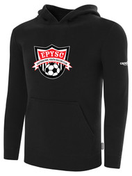 EASTERN PIKE FLEECE PULLOVER HOODIE EASTERN PIKE CREST ON WEARERS CENTER CHEST BLACK WHITE