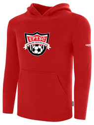 EASTERN PIKE FLEECE PULLOVER HOODIE EASTERN PIKE CREST ON WEARERS CENTER CHEST RED WHITE
