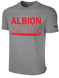 ALBION RIVERSIDE BASICS TEE SHIRT W/ RED ALBION NATION BLOCK LOGO CENTER FRONT CHEST LIGHT HTH GREY