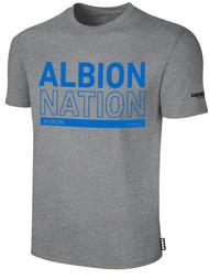 ALBION RIVERSIDE BASICS TEE SHIRT W/ BLUE ALBION NATION BLOCK LOGO CENTER FRONT CHEST LIGHT HTH GREY