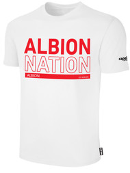 ALBION RIVERSIDE BASICS TEE SHIRT W/ RED ALBION NATION BLOCK LOGO CENTER FRONT CHEST WHITE