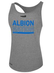 ALBION RIVERSIDE WOMEN'S RACER BACK TANK BLUE ALBION NATION LOGO CENTER FRONT CHEST LIGHT HTH GREY
