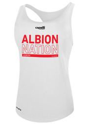 ALBION RIVERSIDE WOMEN'S RACER BACK TANK RED ALBION NATION LOGO CENTER FRONT CHEST WHITE