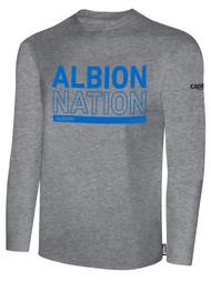 ALBION RIVERSIDE BASICS LONG SLEEVE TEE SHIRT BLUE ALBION NATION LOGO CENTER FRONT CHEST LIGHT HTH GREY