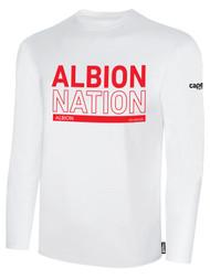 ALBION RIVERSIDE BASICS LONG SLEEVE TEE SHIRT RED ALBION NATION LOGO CENTER FRONT CHEST WHITE