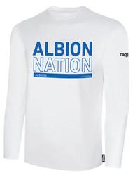 ALBION RIVERSIDE BASICS LONG SLEEVE TEE SHIRT BLUE ALBION NATION LOGO CENTER FRONT CHEST WHITE
