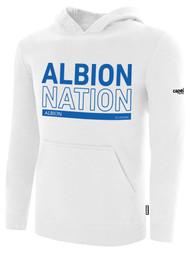 ALBION RIVERSIDE BASICS FLEECE PULLOVER HOODIE BLUE ALBION NATION LOGO CENTER FRONT CHEST WHITE